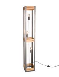 lampara de pie madera y acero-3159ST