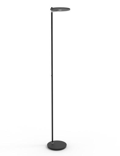 Lámpara de pie negra con luz superior-2993ZW