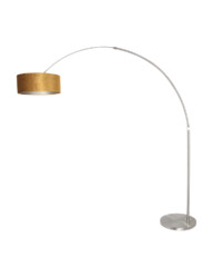 Lámpara arco de acero y pantalla dorada-8126ST